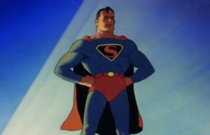 Superman as he appeared in the intro to the Max Flesicher cartoons.