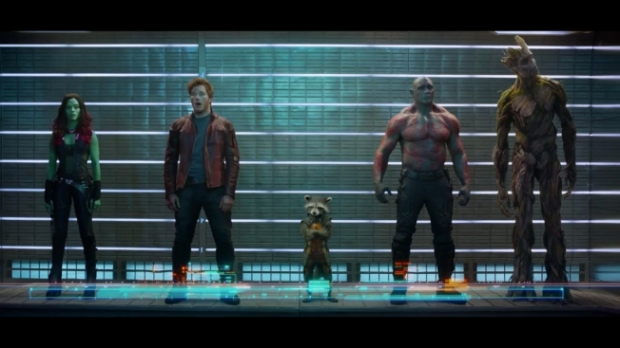 Left to right: Gamora, Starlord, Rocket, Drax, and Groot